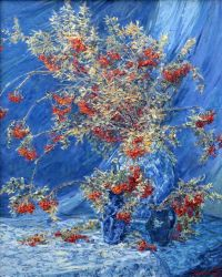 Rowanberries on Blue